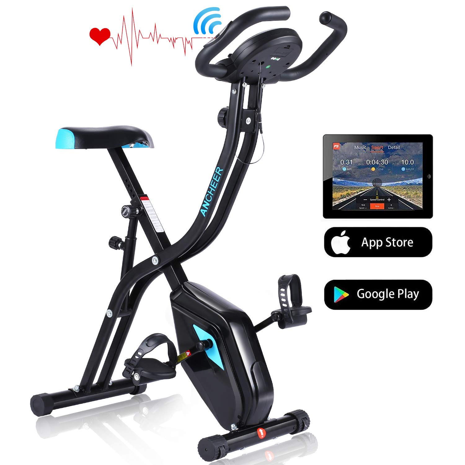 ANCHEER APP Control Folding Exercise Bike, Indoor Stationary Bike with 10-Level Adjustable Magnetic Resistance Comfortable Seat for Home Gym Cardio Fitness