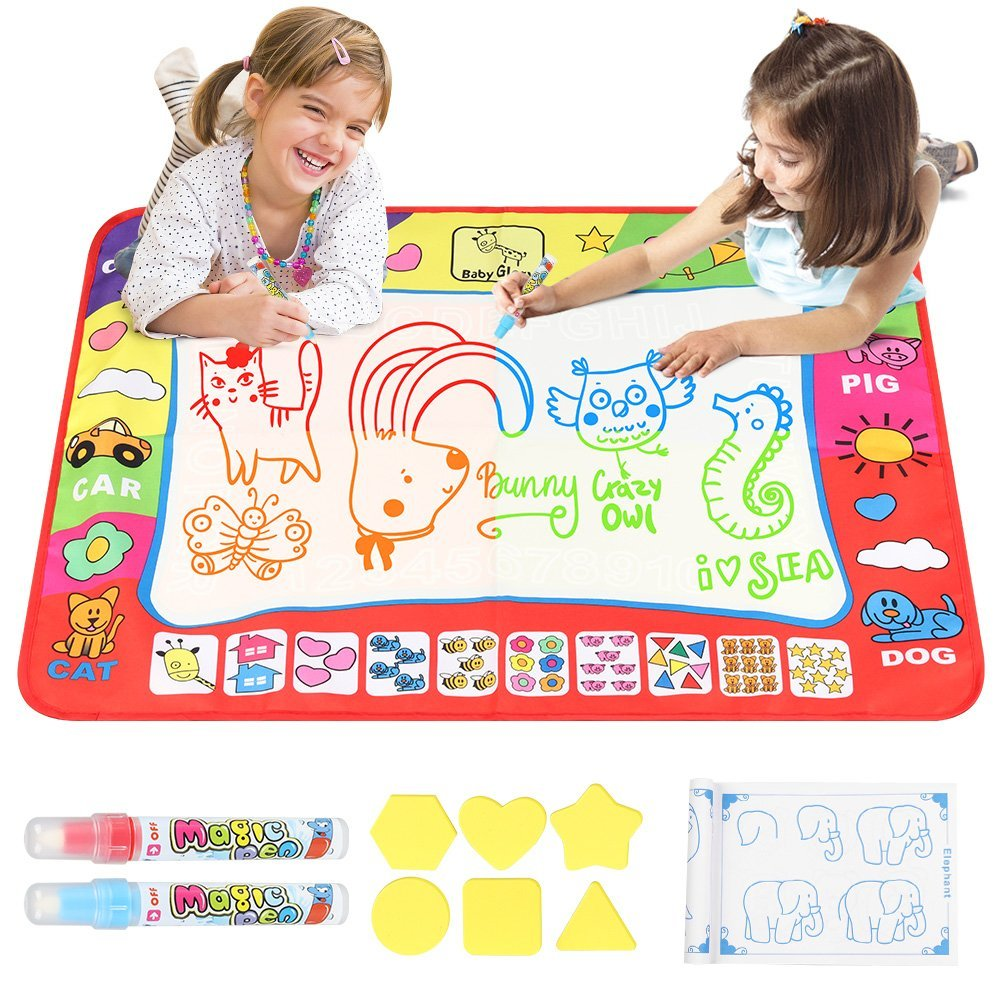 D-FantiX Kids Water Doodle Mat,Large Water Drawing Mat 4 Colors Writing Painting Toddlers Doodle Board Pad with 2 Magic Pen for Girls Boys Educational Gift 31.4 x 23.6in