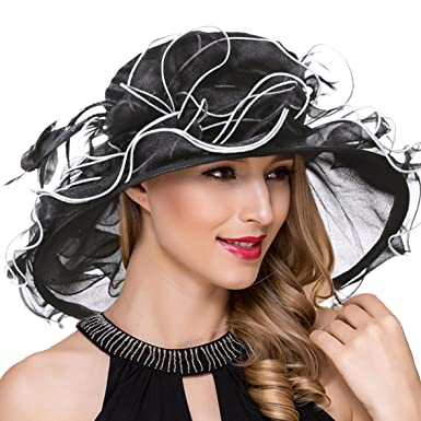 600ea56a79341 Women Organza Kentucky Derby Church Dress Fascinator Wide Brim Wedding Tea  Party Hats (Black)