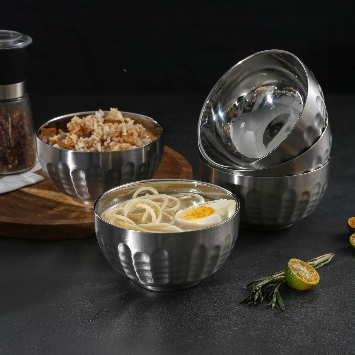 30oz Set of 5 Silver Dali New Design Non-Slip Stainless Steel Bowl Set Double-walled Insulated