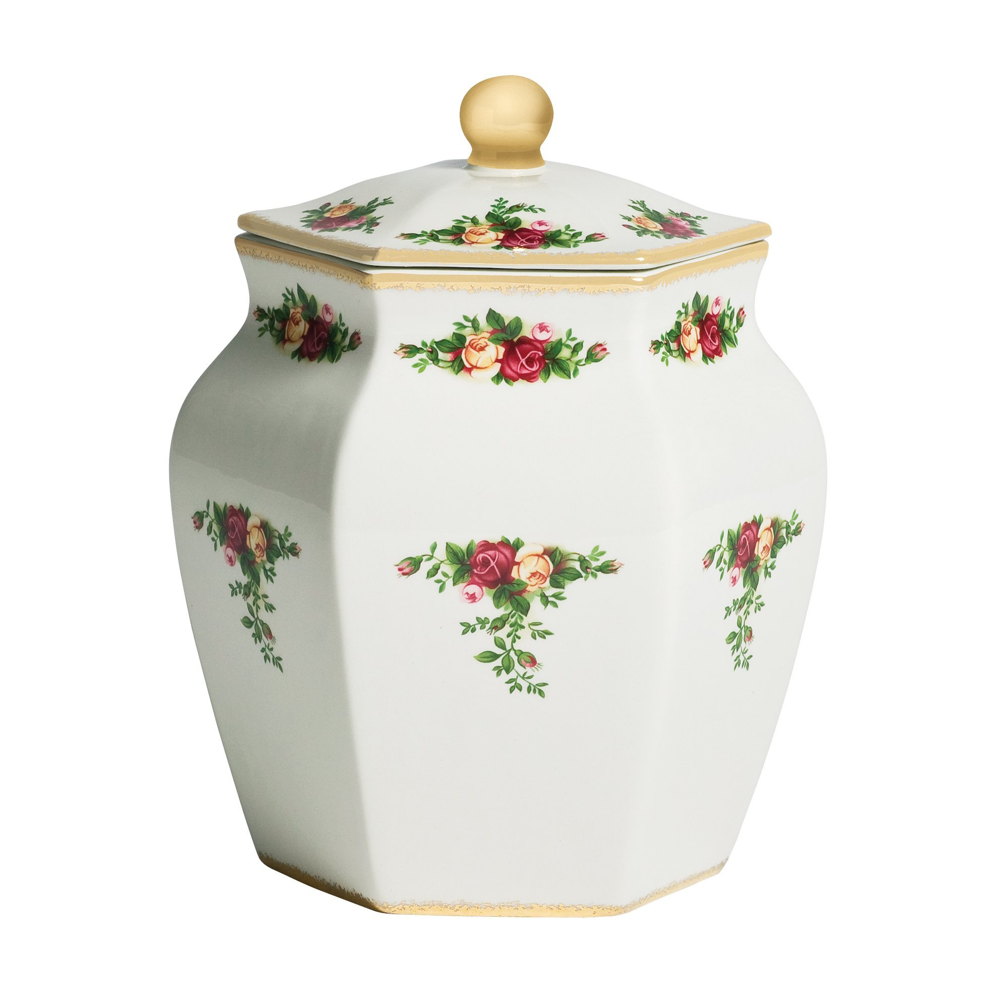 Royal Albert Old Country Roses Biscuit Jar, 7.5'', White