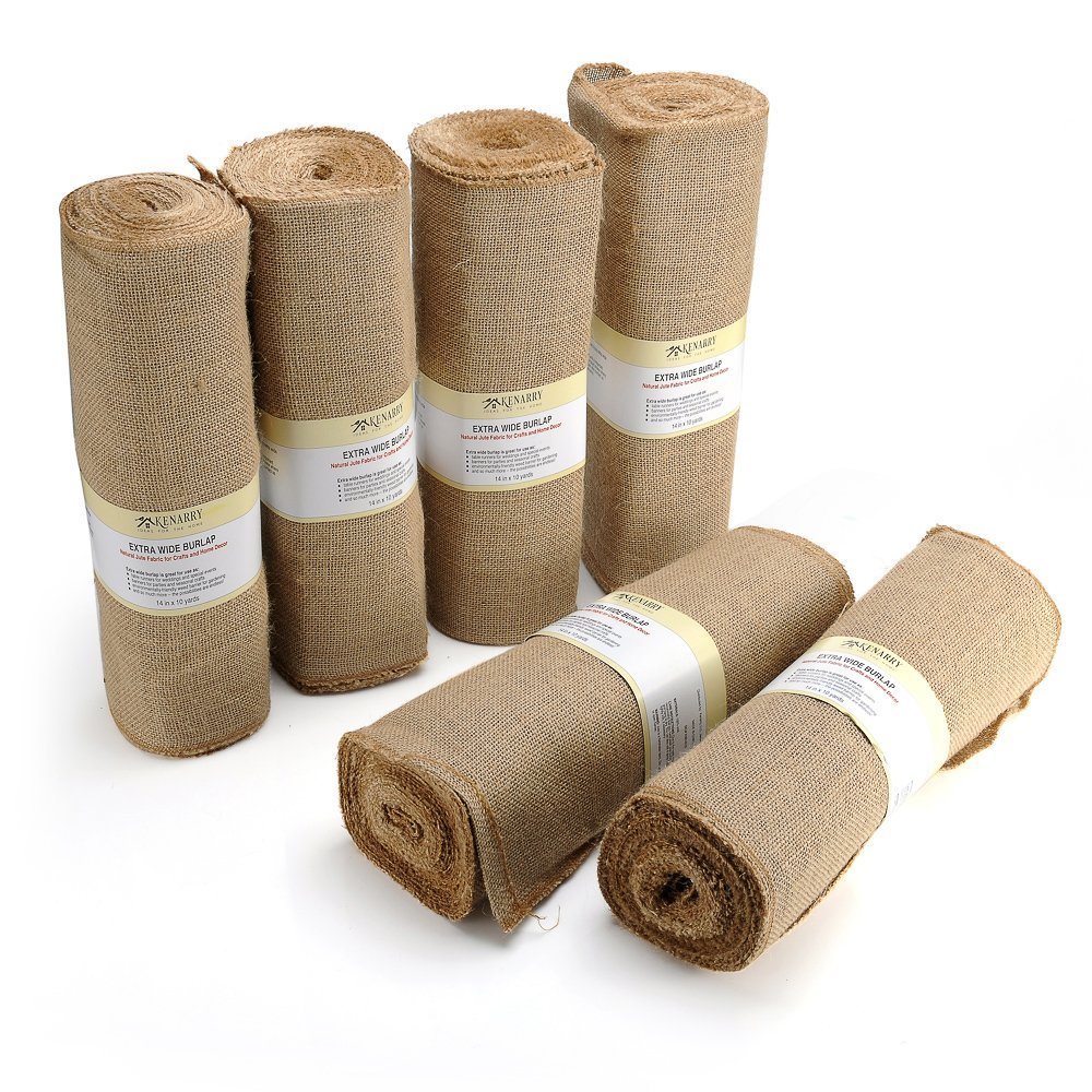 Burlap Table Runner Roll, 14'' x 10 Yards, Natural Dense Weave Jute Roll with Finished No Fray Sewn Edges for Crafts and Decor (6 Rolls)