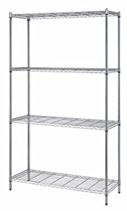 "Quantum Storage 4-Shelf Wire Shelving Unit, 300 lb. Load Capacity per Shelf, 72"" H x 30"" W x 18"" D, Chrome Finish"