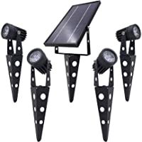 4-Spotlight Mini 50X Solar-Powered LED Spotlight (Warm White LED), Black Finish, Outdoor Garden Yard Landscape Downlight
