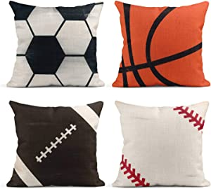 Tarolo Set of 4 Linen Throw Pillow Cover Case Rustic Soccer Baseball Football Decorative Pillow Cases Covers Home Decor Square 18 x 18 Inches Pillowcases