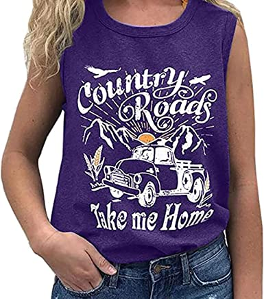 OUNAR Women Hair Dont Care Tank Top Funny Summer Workout Country Music Tee