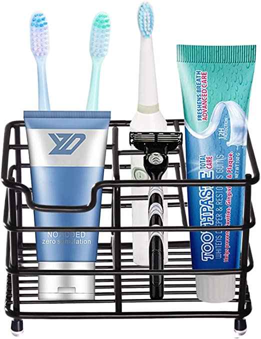 Amazon Com Toothbrush Holder Black Plating Stainless Steel Rustproof Bathroom Electric Toothbrush Holder Toothpaste Storage Organizer Multi Functional 6 Slots Stand For Vanity Countertops Black 01 Large Home Kitchen