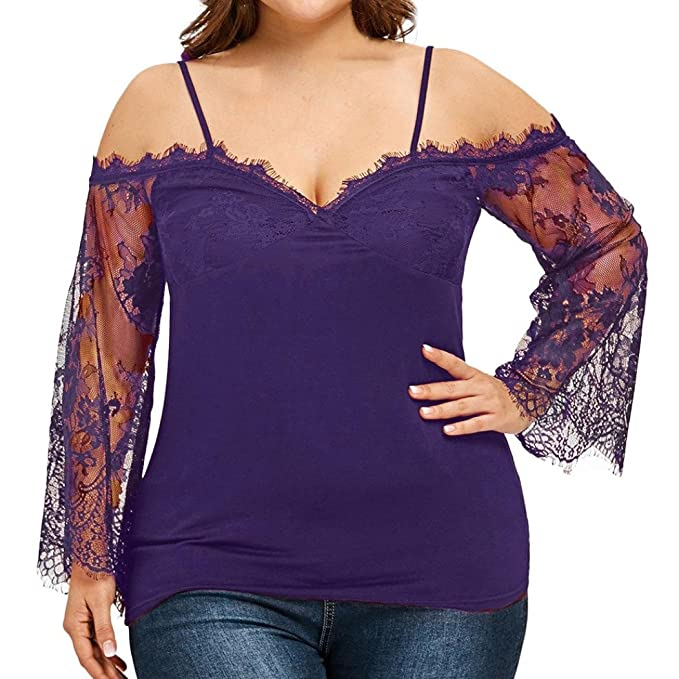 Camiseta de Mujer de Gran tamaño Fuera del Hombro,Blusa con Cuello en