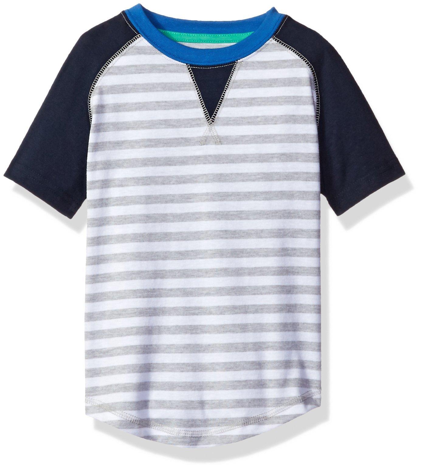 Sovereign Code Big Boys' Short Raglan Tee with Striped Print, White Stripe, X-Large