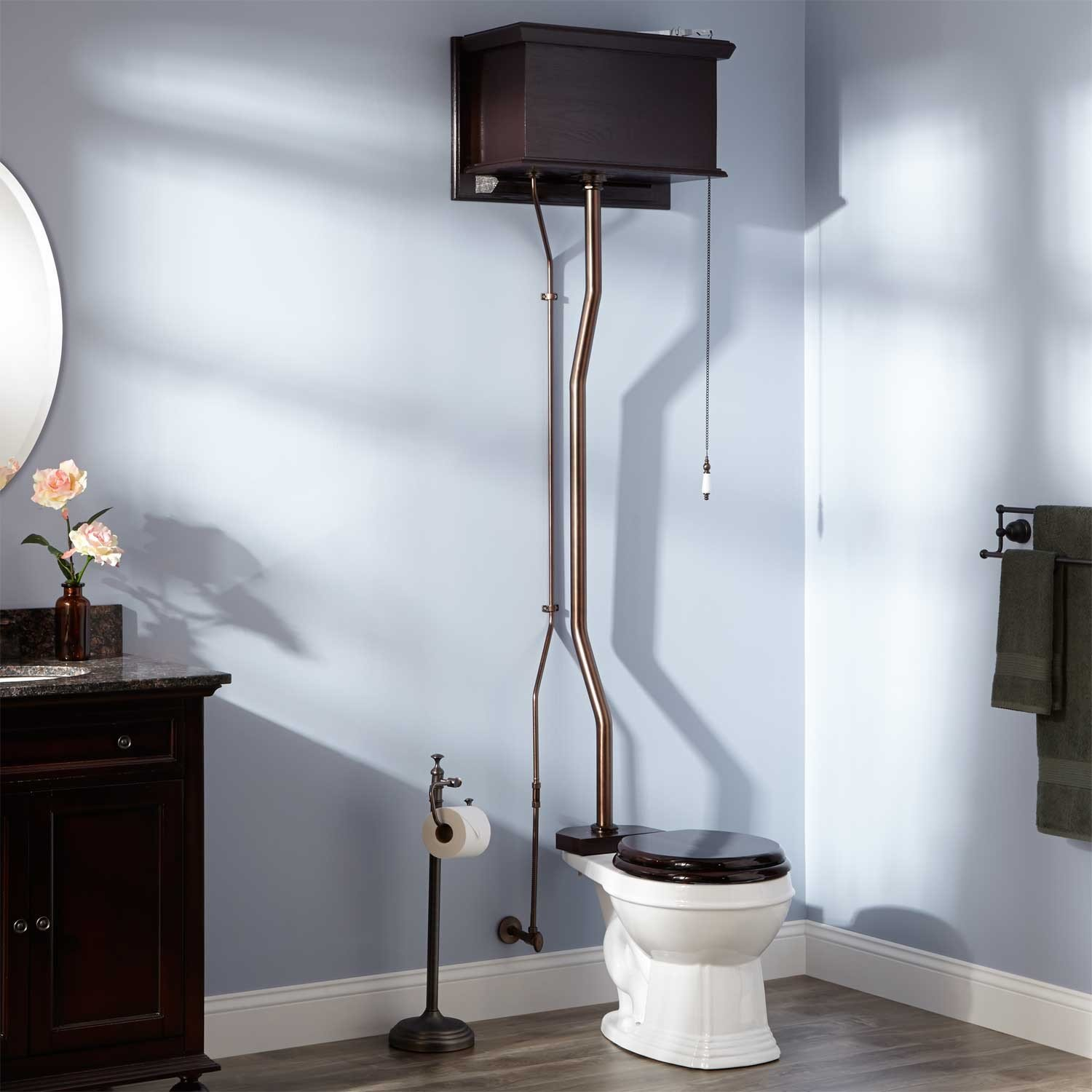 Naiture Mahogany High Tank Pull Chain Water Closet With White Round Bowl And Oil Rubbed Bronze Finish Hardware by SH