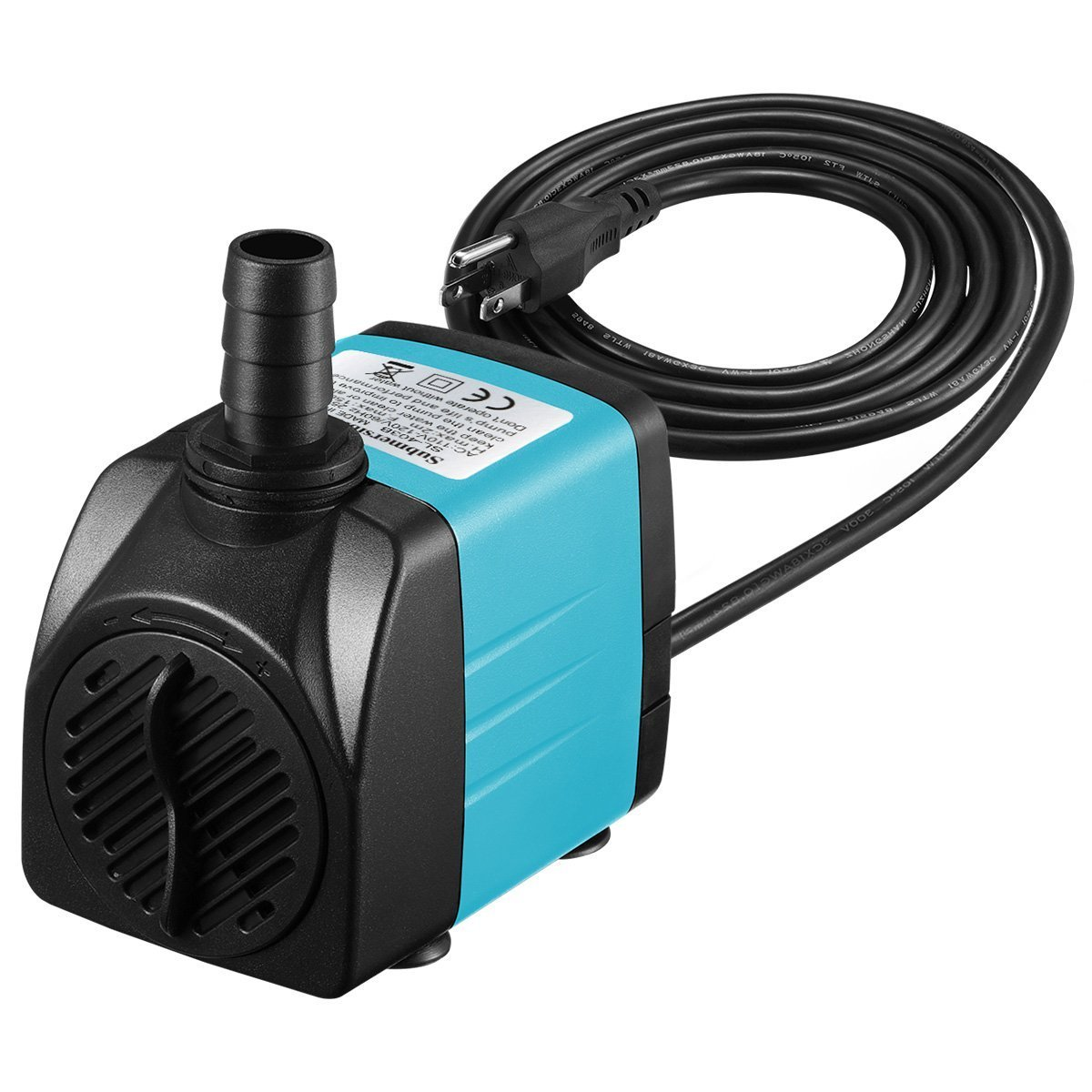 Homasy Upgraded 400GPH Submersible Pump 25W Ultra Quiet Fountain Water Pump with 5.9ft Power Cord, 2 Nozzles for Aquarium, Fish Tank, Pond, Hydroponics, Statuary, Blue