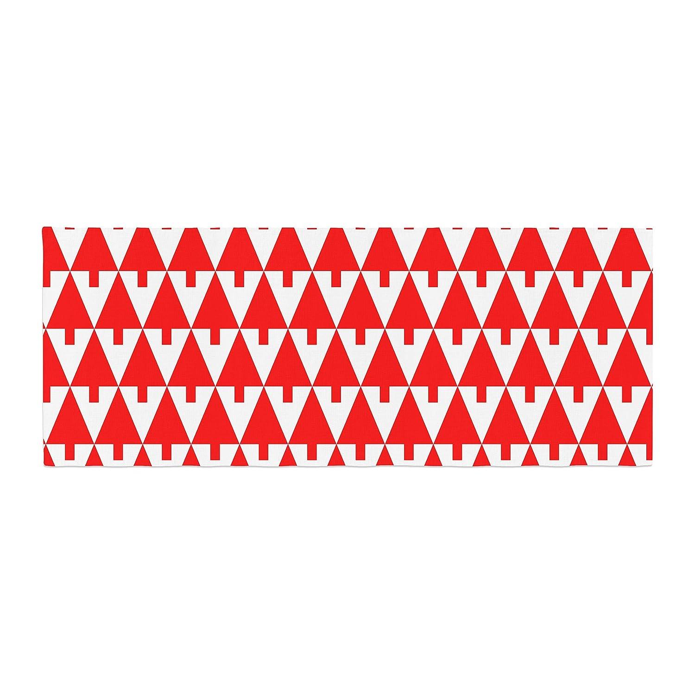 Kess InHouse Gabriela Fuente Happy X-Mas Red Geometric Illustration Bed Runner