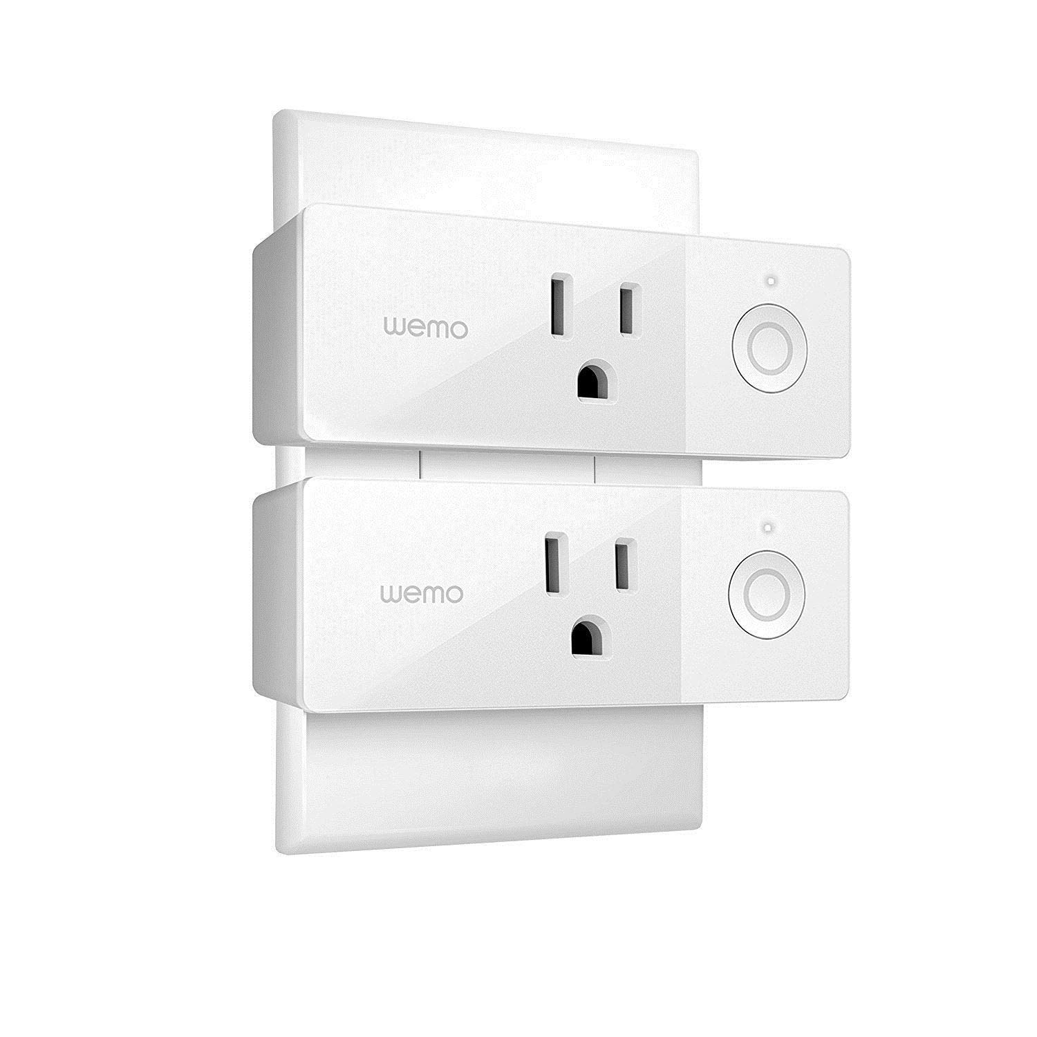 Wemo Mini Smart Plug (2-Pack), Wi-Fi Enabled, Works with Amazon Alexa (F7C063-RM2) (Certified Refurbished)