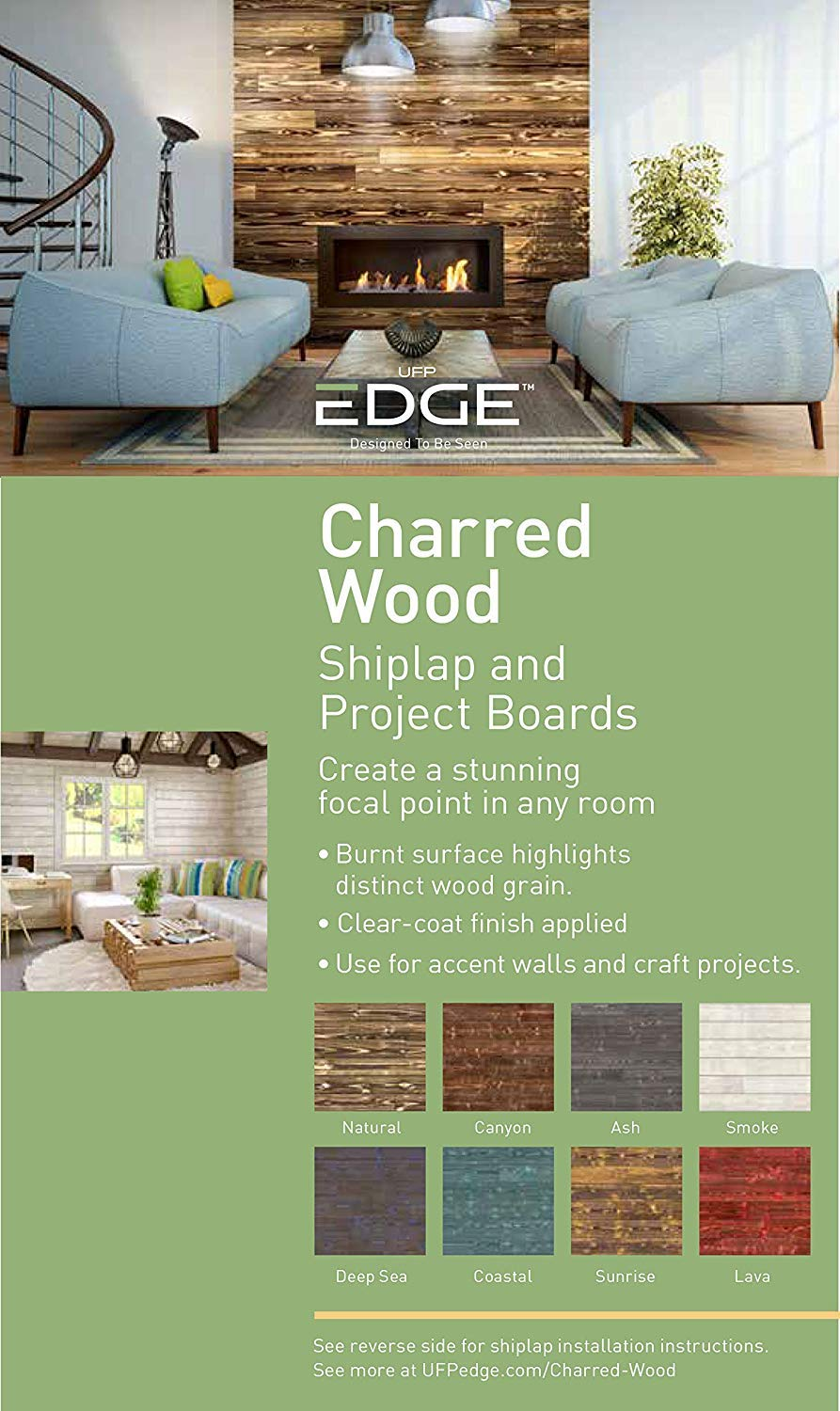 1 in x 6 in UFP-Edge Charred Wood Pine Project Board 3-Pack Factory Finished x 8 ft Interior DIY Decor