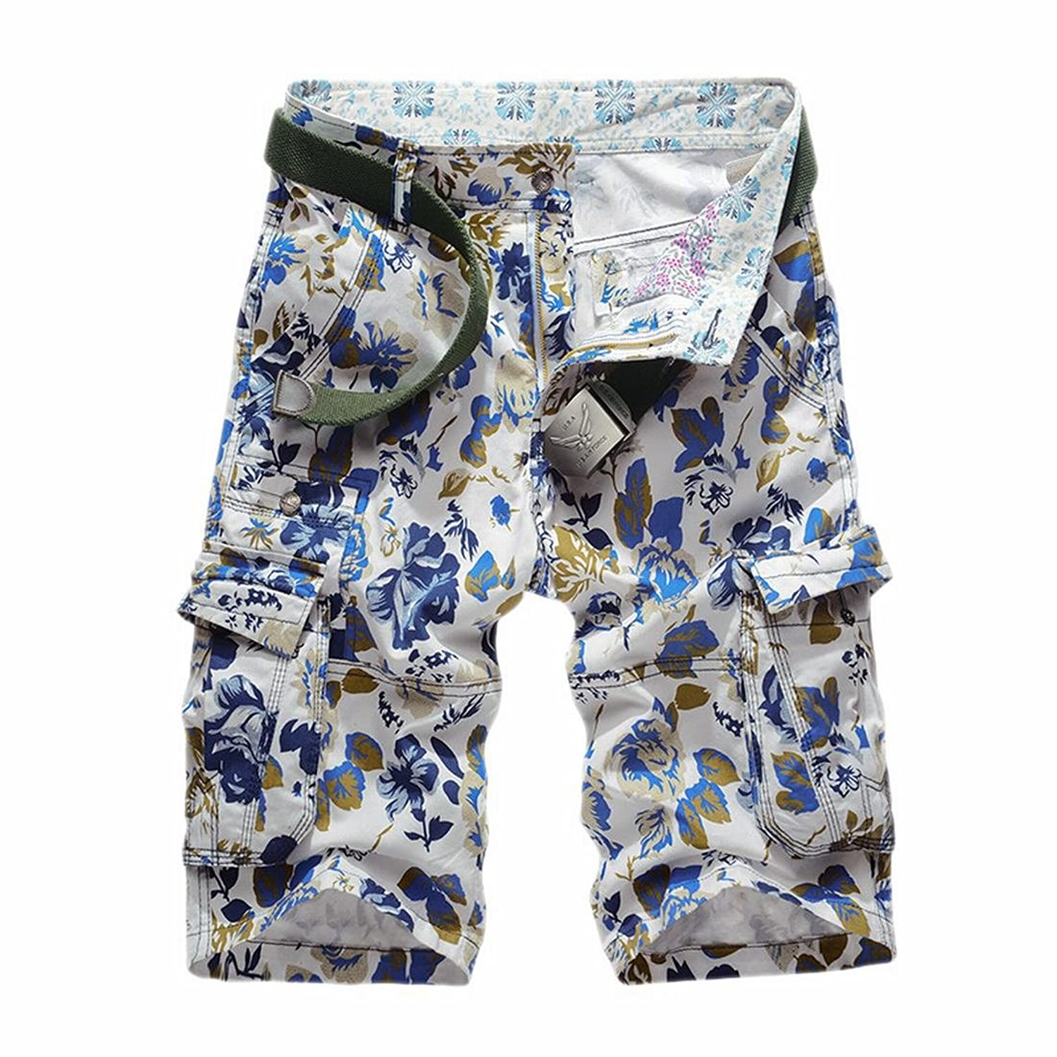 19e263d4774f ARRIVE GUIDE Men s Printed Floral Multi Pocket Camo Cargo Comfy Shorts  lovely