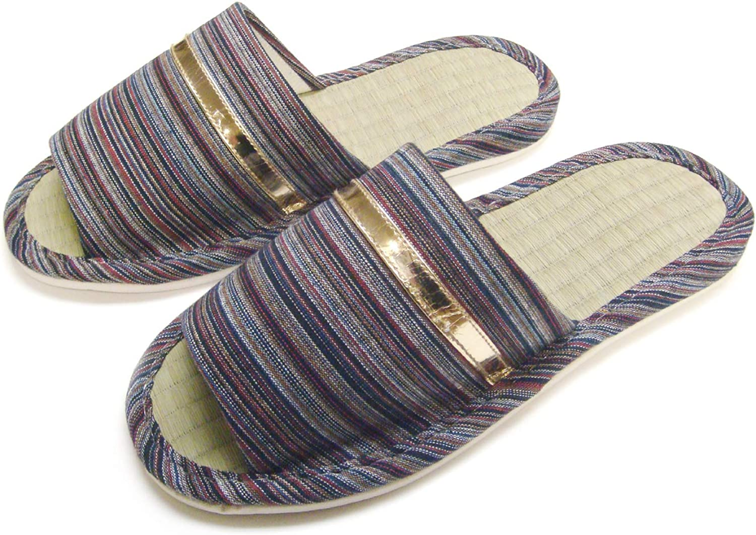 Men Wide Width Natural Tatami Bamboo House Slippers KNP21301T