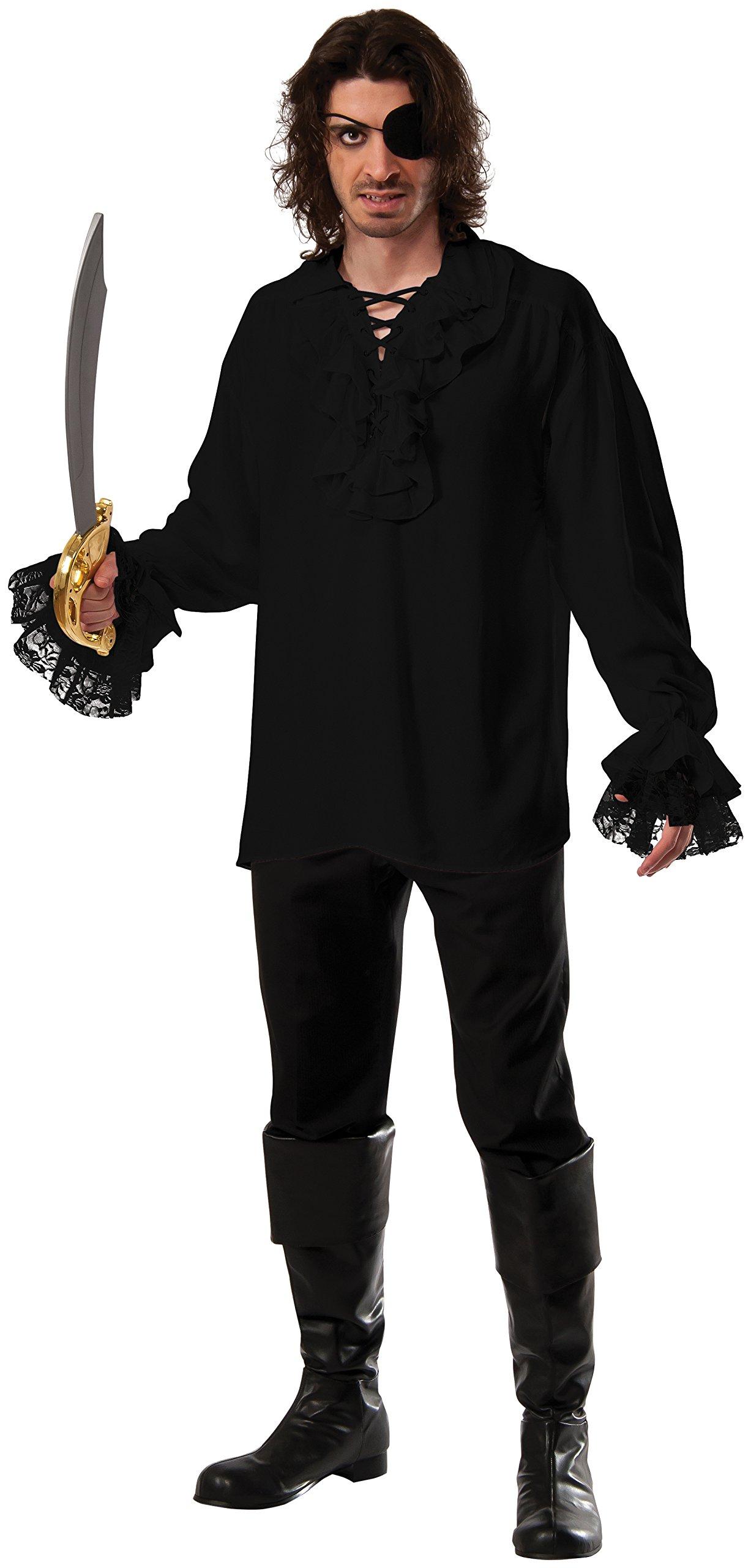 Rubie's Costume CO Men's Ruffled Cotton Dark Pirate Shirt, Black, X-Large