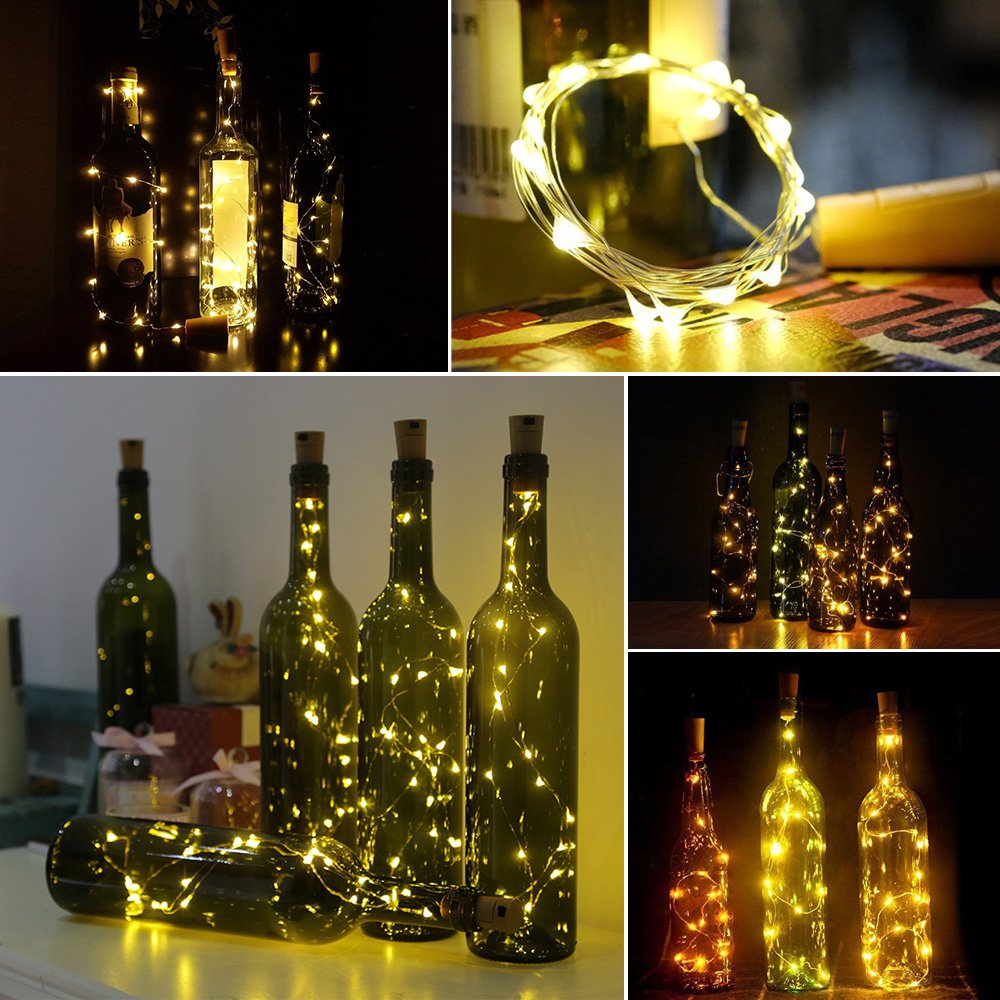 Botella Luz, XCT Group LED luz cadena corcho botellas Luz LED luces, para fiestas, Jardín, bodas, iluminación decorativa, 2 M & 20 LED - De Color Blanco ...