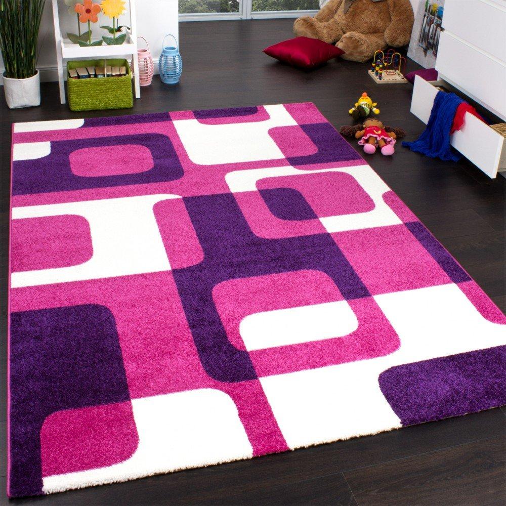 Paco Home Teppich Kinderzimmer Trendiger Retro Kinderteppich in Pink Lila Creme, Grösse:160x220 cm
