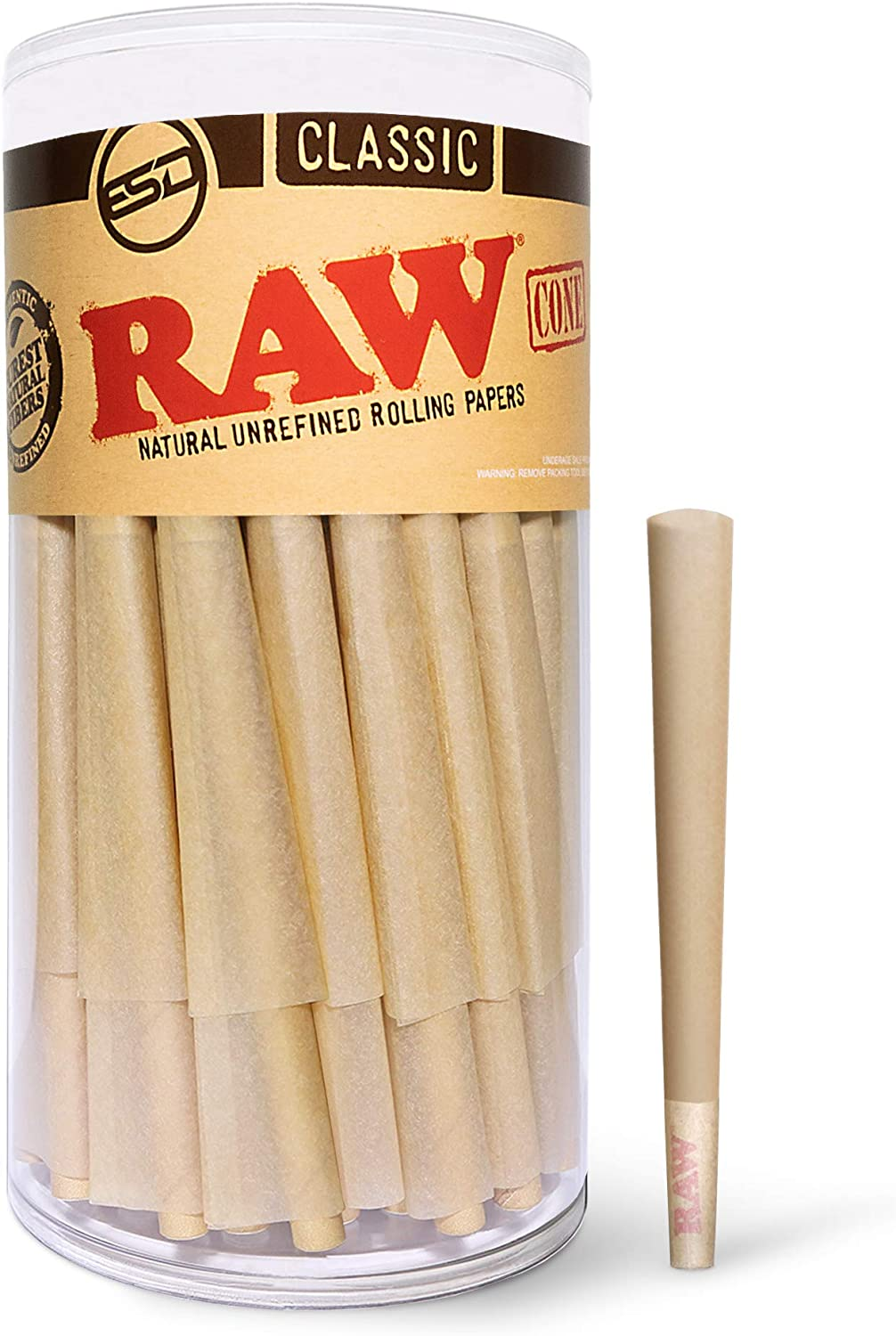 RAW Cones Classic 1 1/4 Size   150 Pack   Natural Pre Rolled Rolling Paper with Tips & Packing Sticks Included