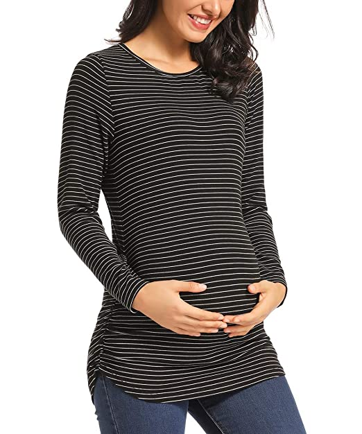 Ritera Womens Maternity Long Sleeve T-Shirt Side Ruched Tops Striped Pregnancy Clothes Crew Neck