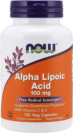 NOW Supplements, Alpha Lipoic Acid 100 mg with Vitamins C & E, Free Radical Scavenger*, 120 Veg Capsules