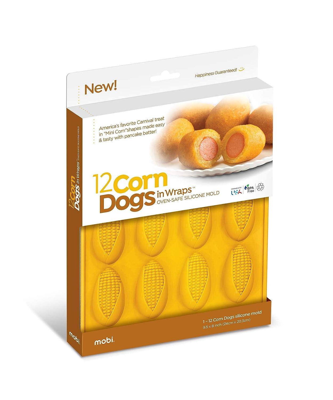 Mobi CD-12 12 Mini Corn Dogs Silicone Baking Mold, Yellow