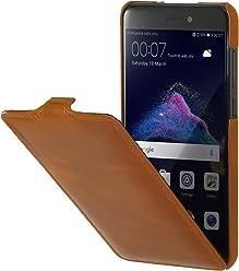 StilGut UltraSlim Case, custodia flip case in vera pelle per Huawei P8 lite (2017), cognac