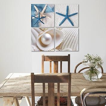Blanco Cuadro de Pared Playa 40x40cm Cuadro Decorativo Deco Panel Feeby Frames Cuadro Impreso 4 Partes Conchas