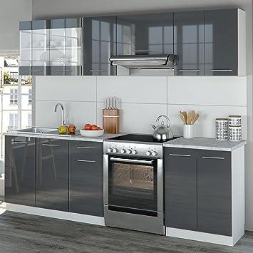 Vicco küche 240 cm küchenzeile küchenblock einbauküche anthrazit hochglanz frei kombinierbare einheiten r