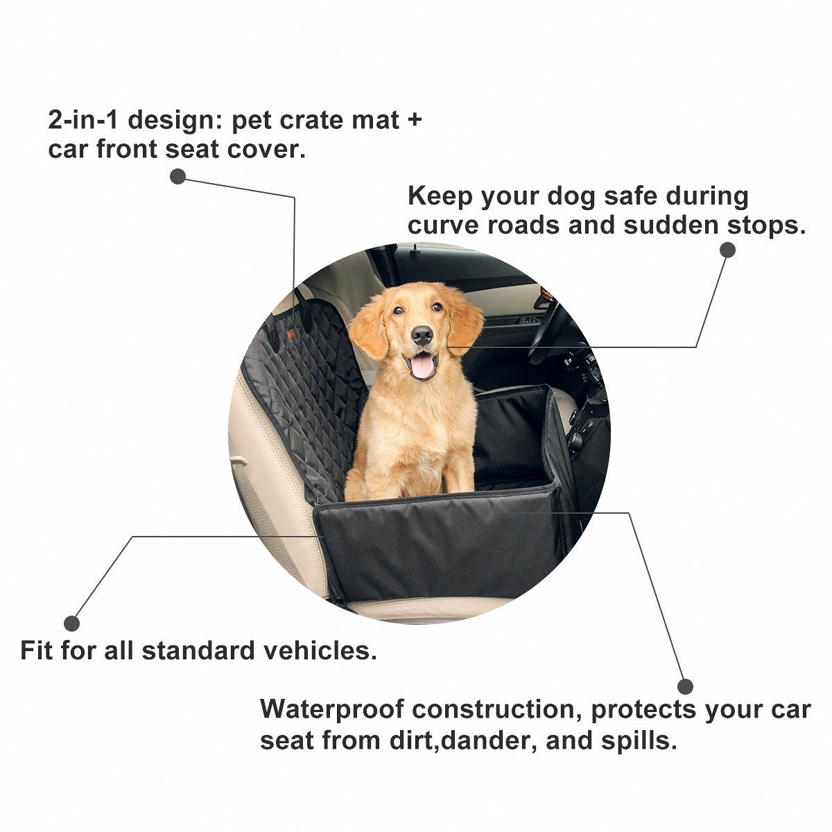Waterproof Pet Booster Seats Nonslip Dog Cat Safety Front Seat Cover Puppy Car Mat Travel Hammock Collapsible 2 In 1 Function