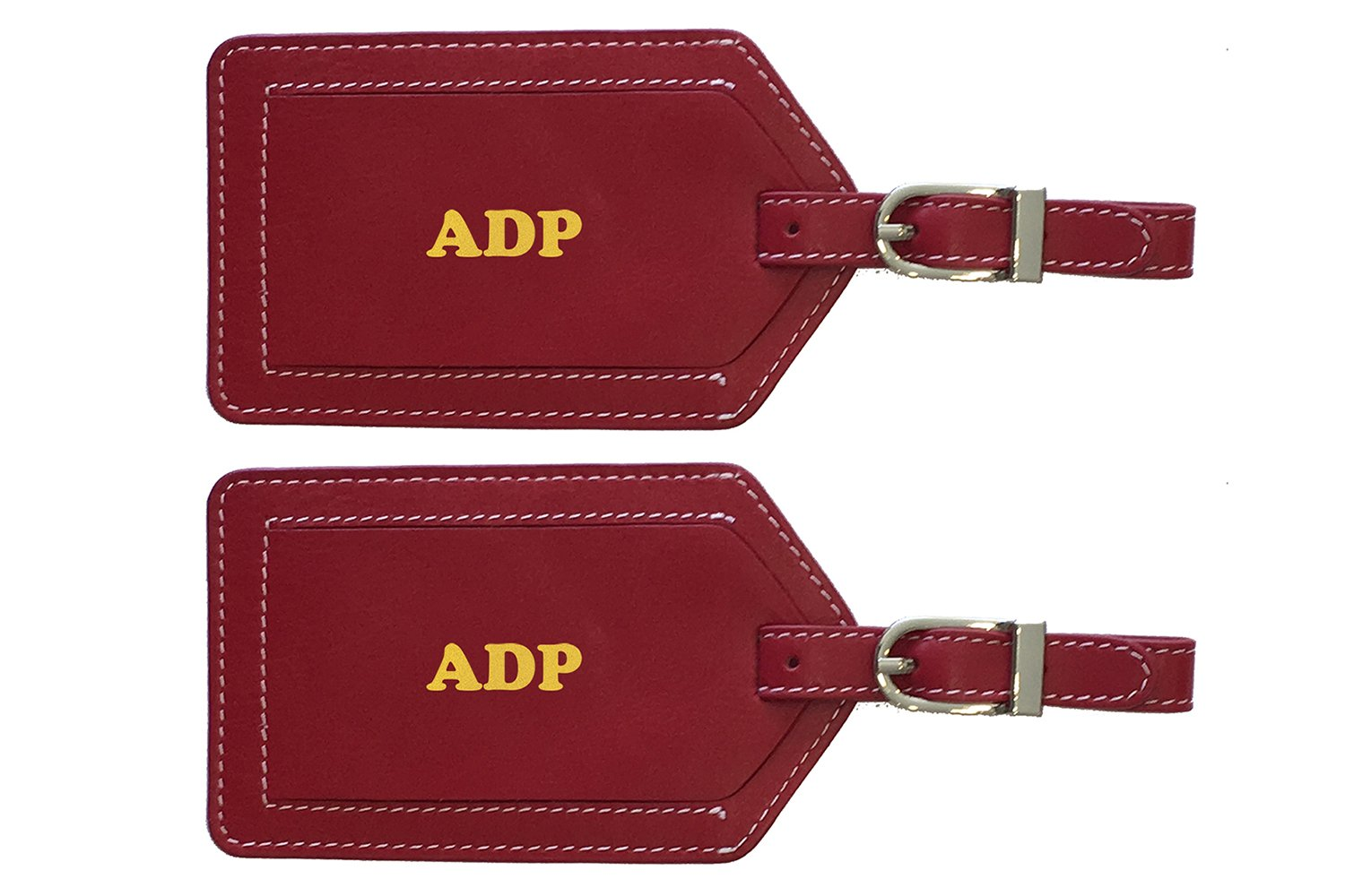 Personalized Monogrammed Red Leather Luggage Tags - 2 Pack by 123 Cheap Checks