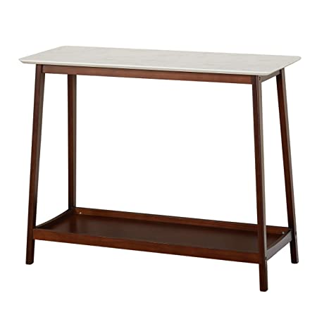 TMS 33803MWA JHOVIES Faux Marble Mid Century Living Room Tall Entryway Console Table, 39.3 W, White Walnut
