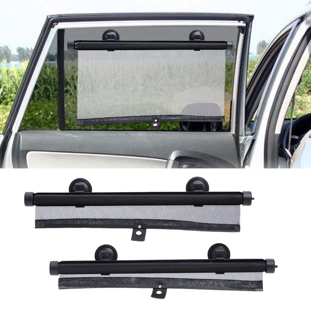 Parasol retr/áctil para parabrisas ViewHuge Roller protector de parasol para ventana lateral del coche parabrisas trasero negro negro Talla:40x60cm parabrisas delantero del coche cortinas negras