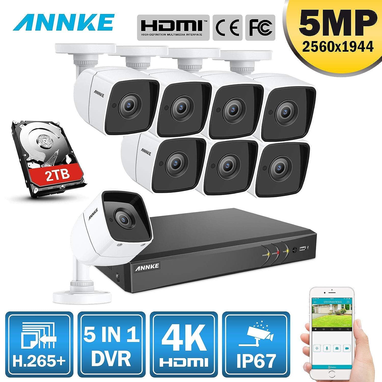 Annke 4K 8CH DVR Syst/ème de S/écurit/é H.265+,5-en-1 TVI Syst/ème de Surveillance d/étection de Mouvement Facile,sans HDD