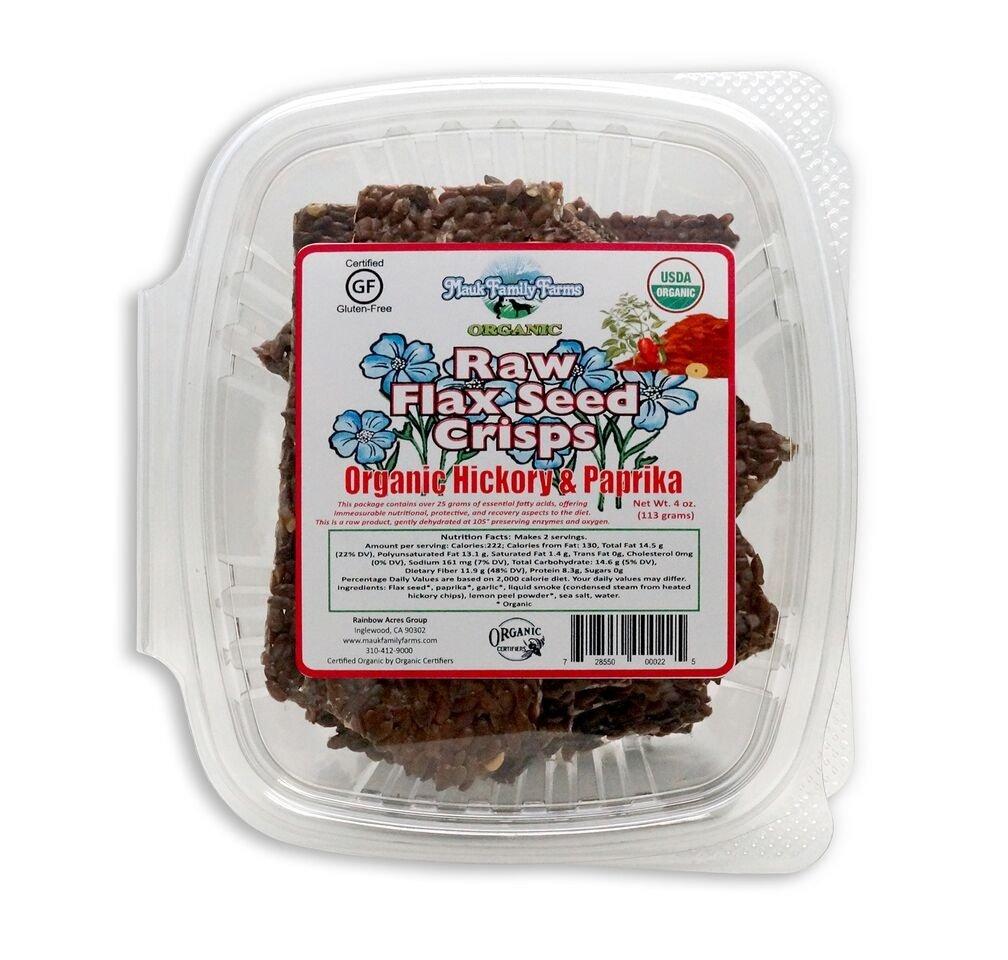 Mauk Family Farms Organic Raw Crisps, Flax Seed, Hickory & Paprika, 4 Ounce