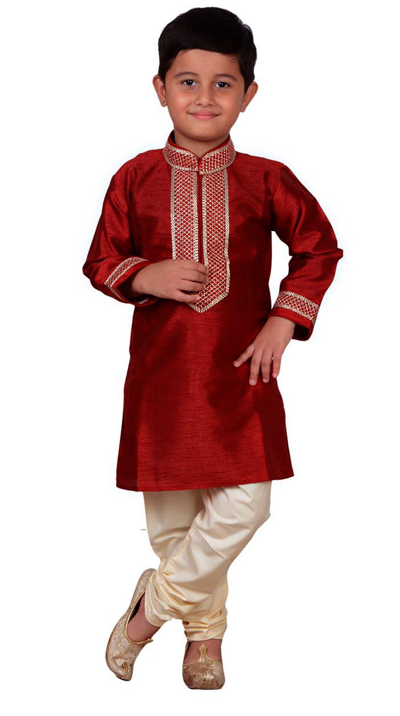 Boys Indian Maroon Sherwani Kurta with Churidar pyjama in fine Art Silk for Bollywood theme party Costume 894 (6 (6 yrs), Maroon)