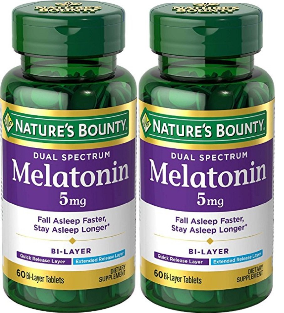 Amazon.com : NB Dual Spectrum Melatonin 5 mg Bi-Layer 60ct ~ 2 Bottles Dietary Supplement : Beauty
