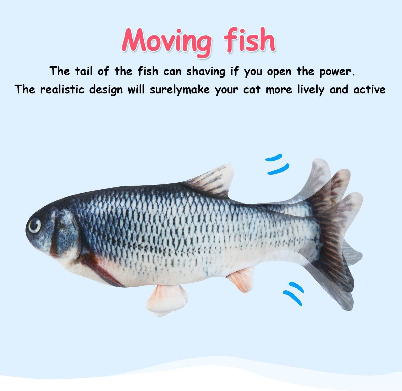 Pesce Realistico Elettrico con 3 Pezzi Giocattoli di Catnip di Pesce Realistico Simulazione di Pesci Bambola Giocattolo del Gatto di Pesce per Morso da Masticare per Cuscino Interattivo per Animali