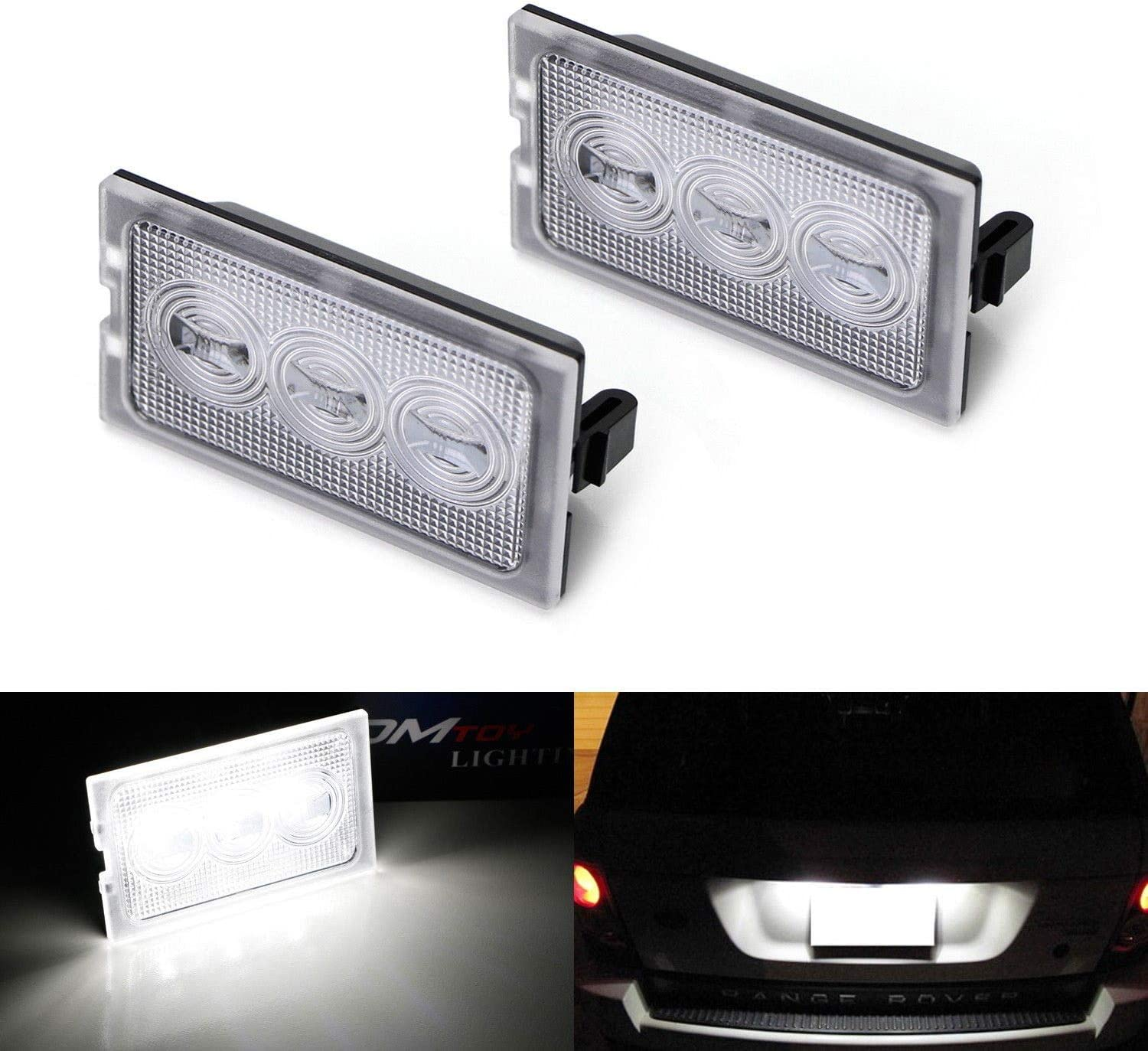 iJDMTOY OEM-Fit 3W Full LED License Plate Light Kit Compatible With 2005-13 Ranger Rover Sport, Discover LR3 LR4 & 06-14 Freelander 2 LR2, Powered by 3-piece Osram Xenon White LED