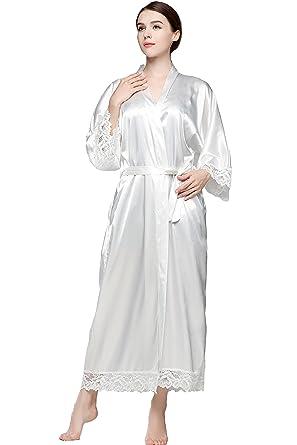 275205f3f36d15 BABEYOND Damen Morgenmantel Maxi Lang Seide Satin Kimono Kleid Einfarbiger  Bademantel Damen Lange Robe Schlafmantel Girl