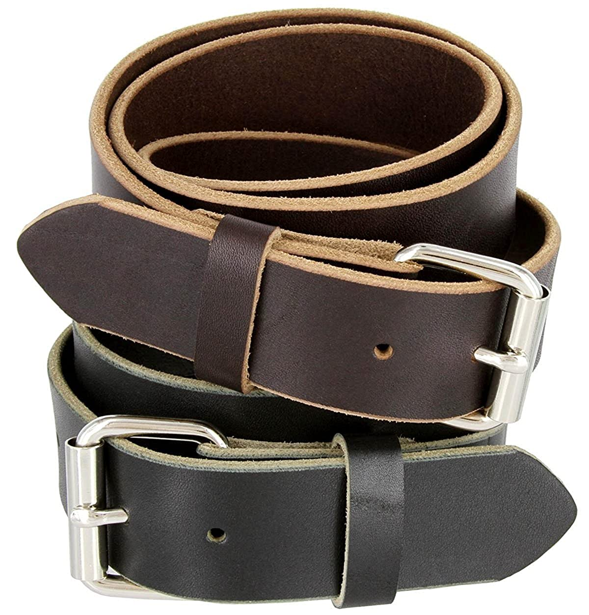 Hagora Mens Sturdy Thick Solid Real Full Grain Leather 1.5 Wide Buckle Belt