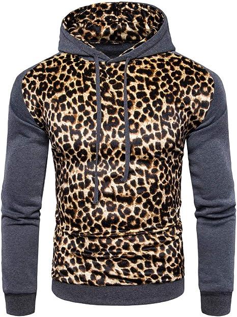 CQ Nuevo Sudaderas Hombre Leopardo Sudadera con Capucha Estampada ...