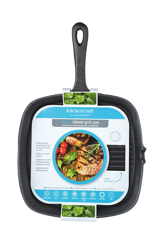 Kitchen Craft KCCIRD Clearview - Sartén parrilla redonda de hierro fundido (24 cm): Amazon.es: Hogar