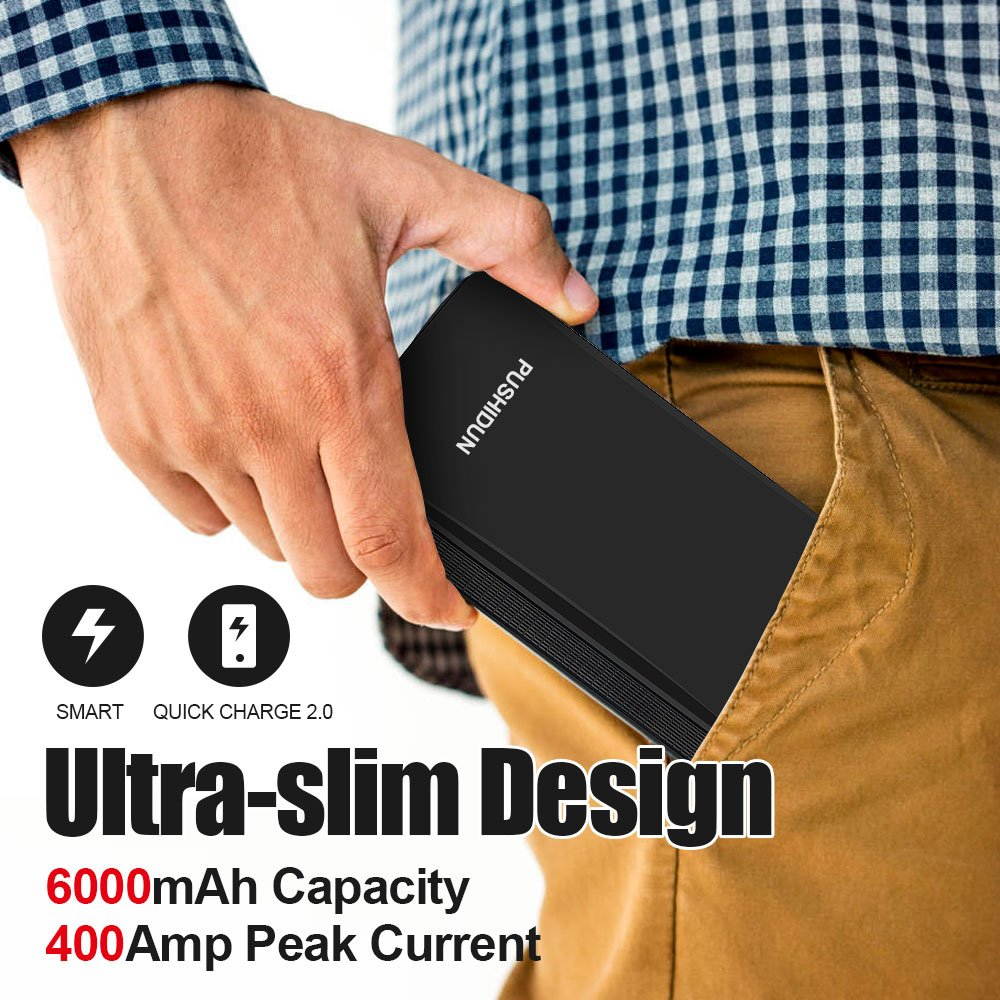 Portable Car Jump Starter Kit 6000mAh 400A Peak (Up to 2.5L Gas Car) Ultra-thin Mini Auto Battery Booster Jumper Emergency Power Pack with Smart Charging Port & LED Flashlight in 3 Modes. by PUSHIDUN (Image #6)