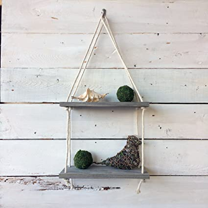 Display wall hanging shelf swing rope floating shelves home decor made of reclaimed barnwood