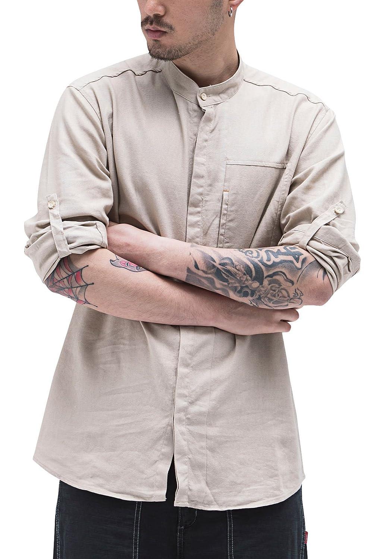 Aieoe Camisa Hombres Jovenes Cuello Mao Manga Larga Tops Casual con Botones Algodón Lino Delgado Transpirable de Moda XL-4XL Blanco/Azul/Verde/Beige