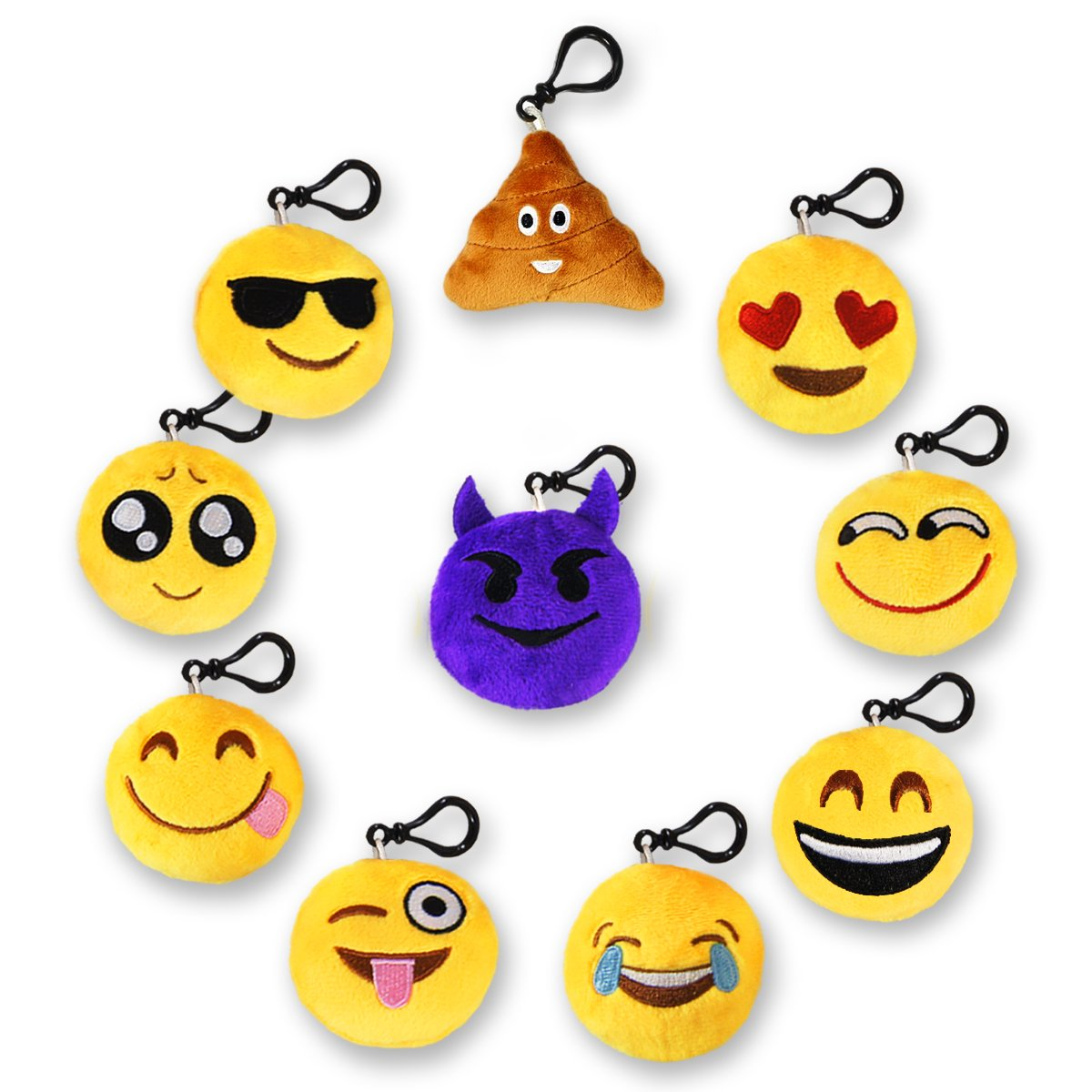 MelonBoat 24 Pack 2 Emoji Plush Keychain Mini Pillows Backpack Clips Emoticon Poop Birthday