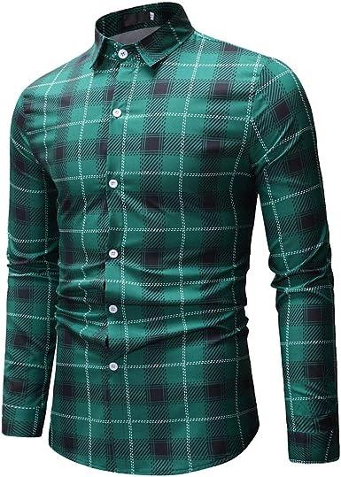 Sencillo Vida Camisas Cuadros Hombre Manga Larga Camisas de Hombre de Vestir Slim Fit Delgada Clásico Cuello de Solapa Camisa Hombres Casual Formales con Botones Plaid Camiseta: Amazon.es: Ropa y accesorios