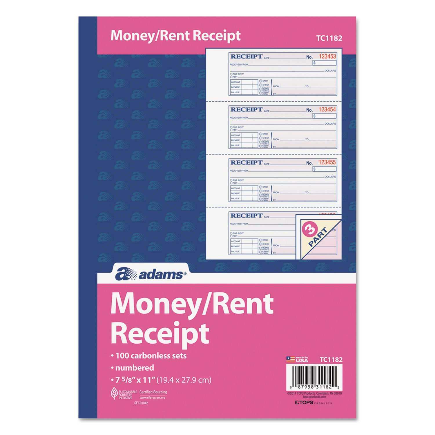 Adams(R) Carbonless 3-Part Money Rent Receipt Book, 7 5 8in. x 11in., Book Of 100 Sets by Cardinal